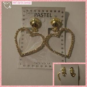 Gold Heart clip-On Earrings NWT